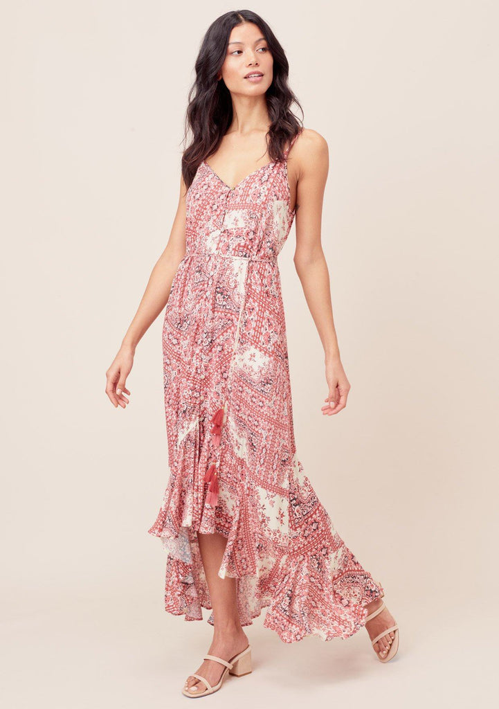 [Color: Brick/Bone] Lovestitch brick/bone Paisley printed, button front maxi dress with high-low, ruffled hem and tassel tie belt.