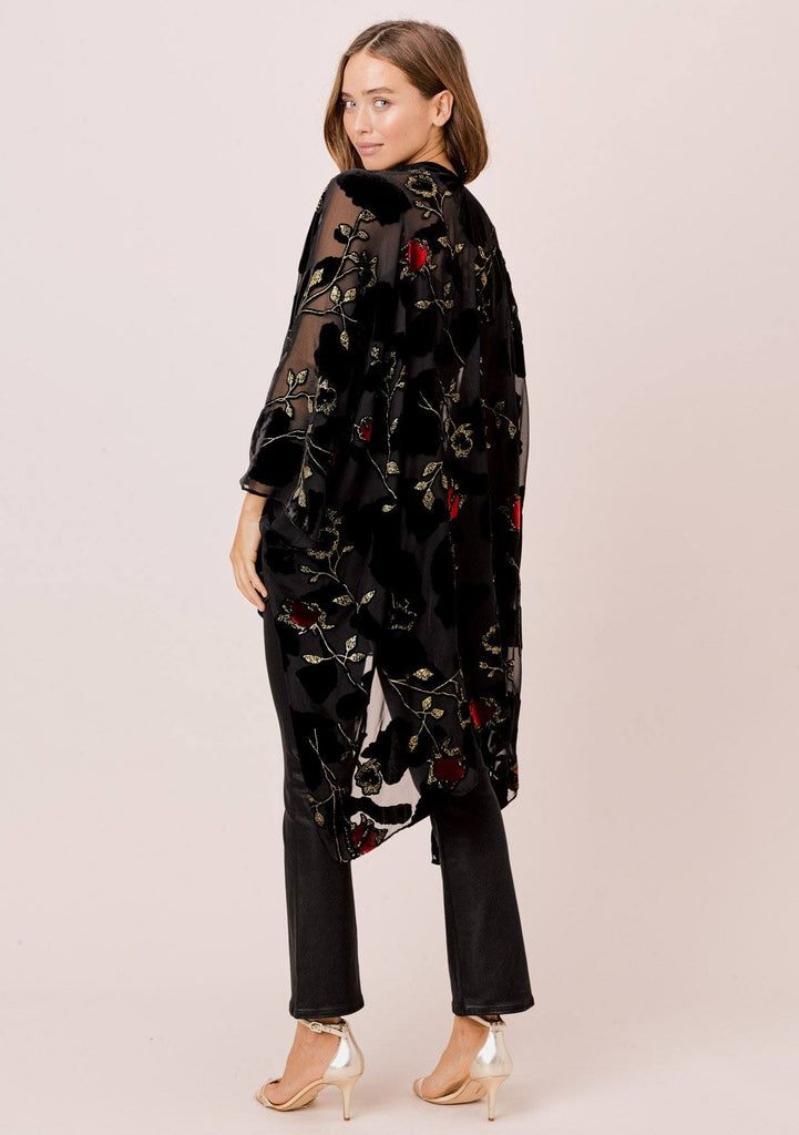 [Color: RedFloral/Black] Lovestitch Red Floral Velvet Burnout Kimono