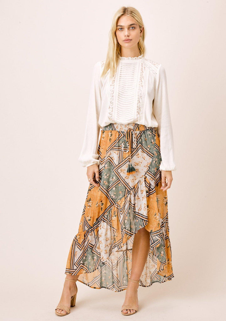[Color: Retro/Gold] Lovestitch patchwork floral maxi skirt with ruffled bottom and high low hem.