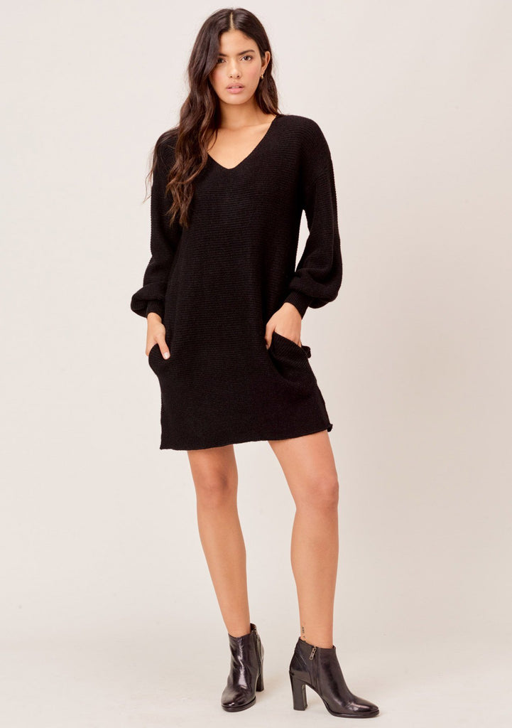 [Color: Black] Lovestitch black Ribbed, mini sweater dress with comfy side pockets and elegant volume sleeve.