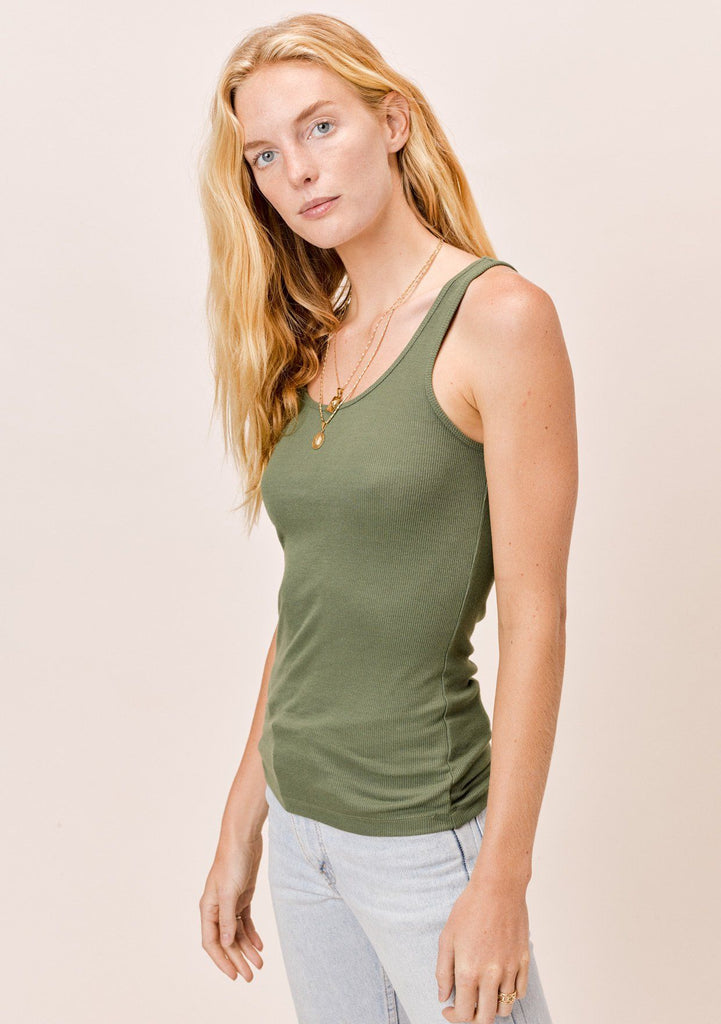 [Color: Olive] Lovestitch olive green, ribbed tank top