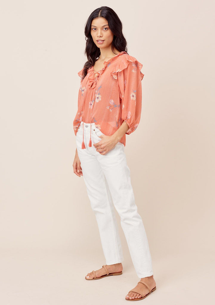 [Color: Apricot/Peach] Lovestitch apricot/peach Floral printed, lace-up front top with ruffled details and tassel ties.