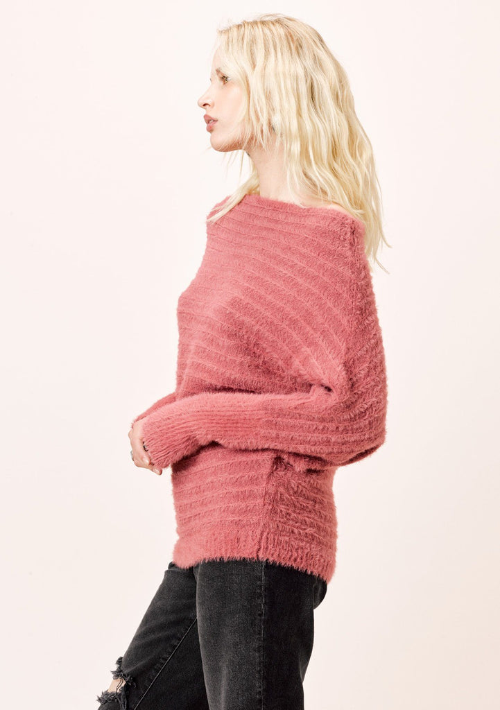 [Color: Vintage Rose] Lovestitch vintage rose pink, fuzzy, textured stripe boatneck pullover.