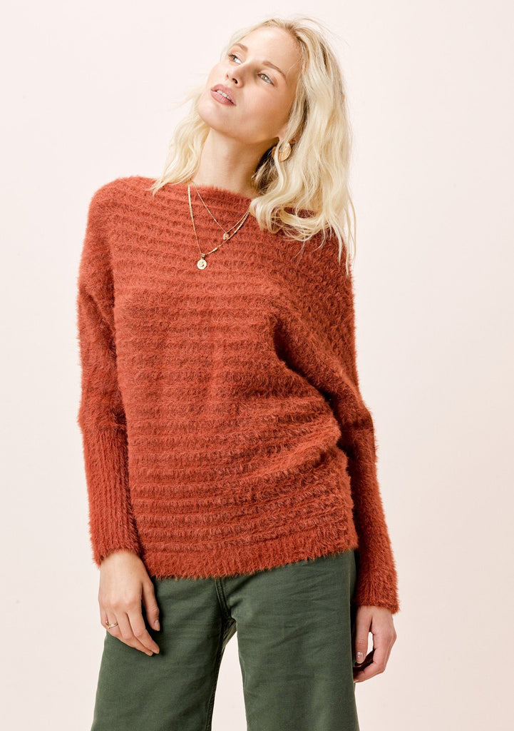 [Color: Burnt Orange] Lovestitch burnt orange, fuzzy, textured stripe boatneck pullover.