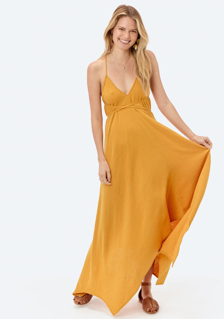 [Color: Mustard] Lovestitch V-neckline, mustard yellow cotton dress with versatile long straps and backless detail