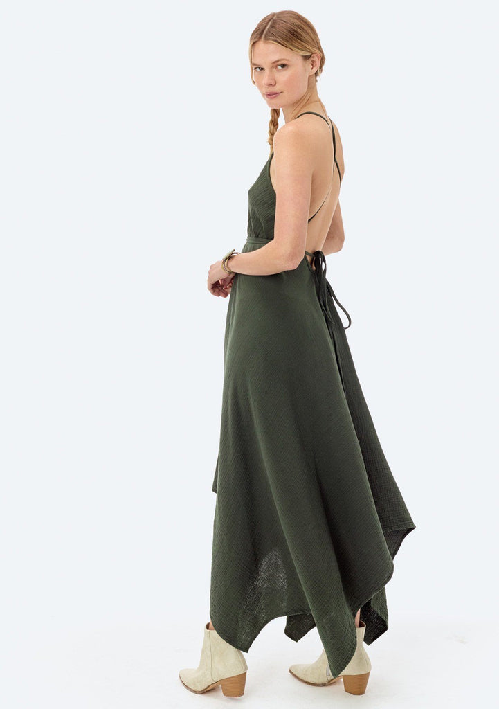 [Color: Evergreen] Lovestitch V-neckline, evergreen cotton dress with versatile long straps and backless detail
