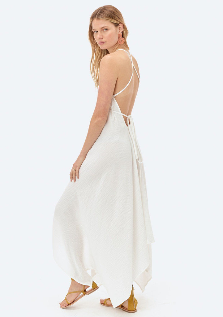 [Color: Off White] Lovestitch V-neckline, white cotton dress with versatile long straps and backless detail