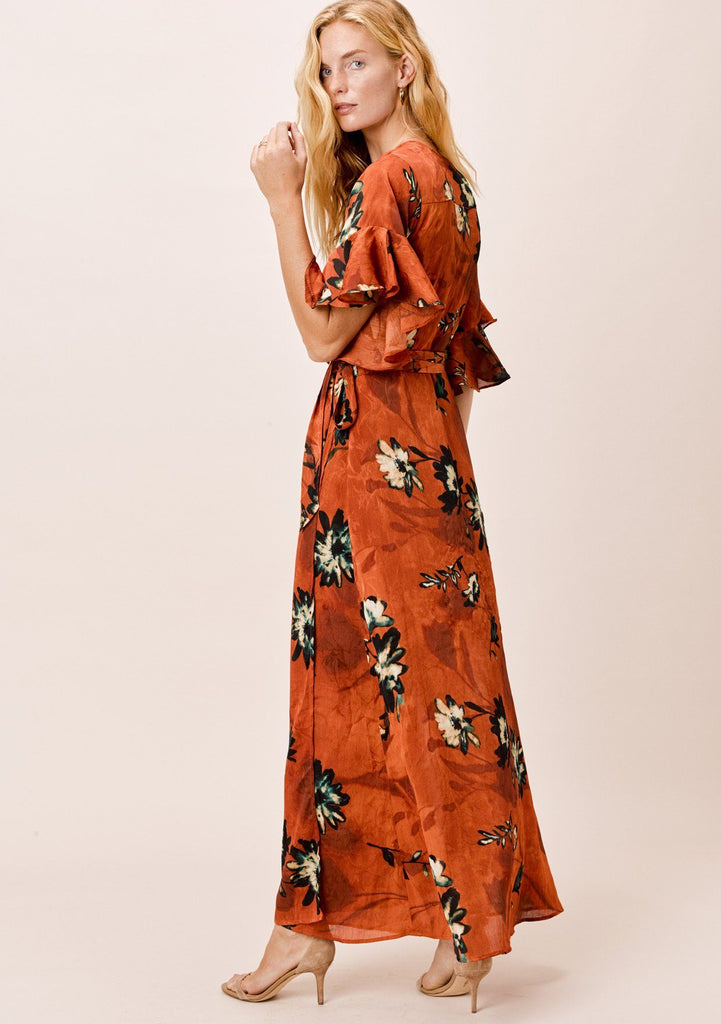 [Color: Rust] Lovestitch Floral Wrap Maxi Dress with ruffled flutter sleeve