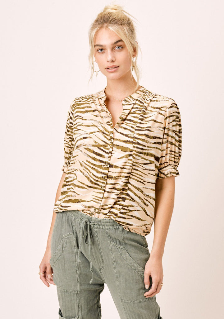 [Color: Sahara/Nude] Lovestitch Animal Print Buttondown Top with Short Puff Sleeves with Tie detail