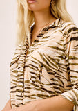 [Color: Sahara/Nude] Lovestitch animal print buttondown top with double breast pocket detail