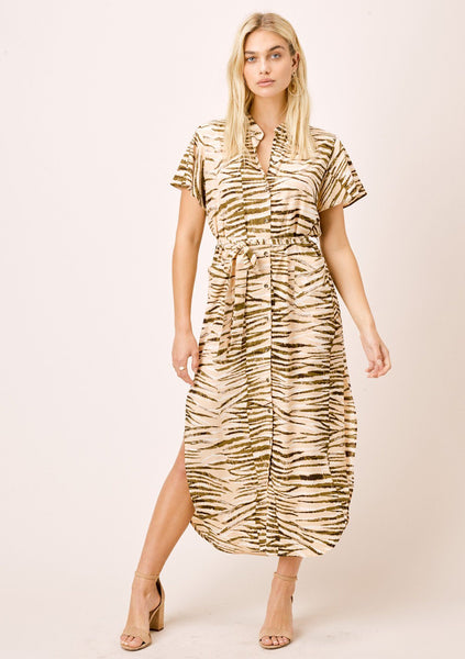 Leia Animal Print Shirt Dress