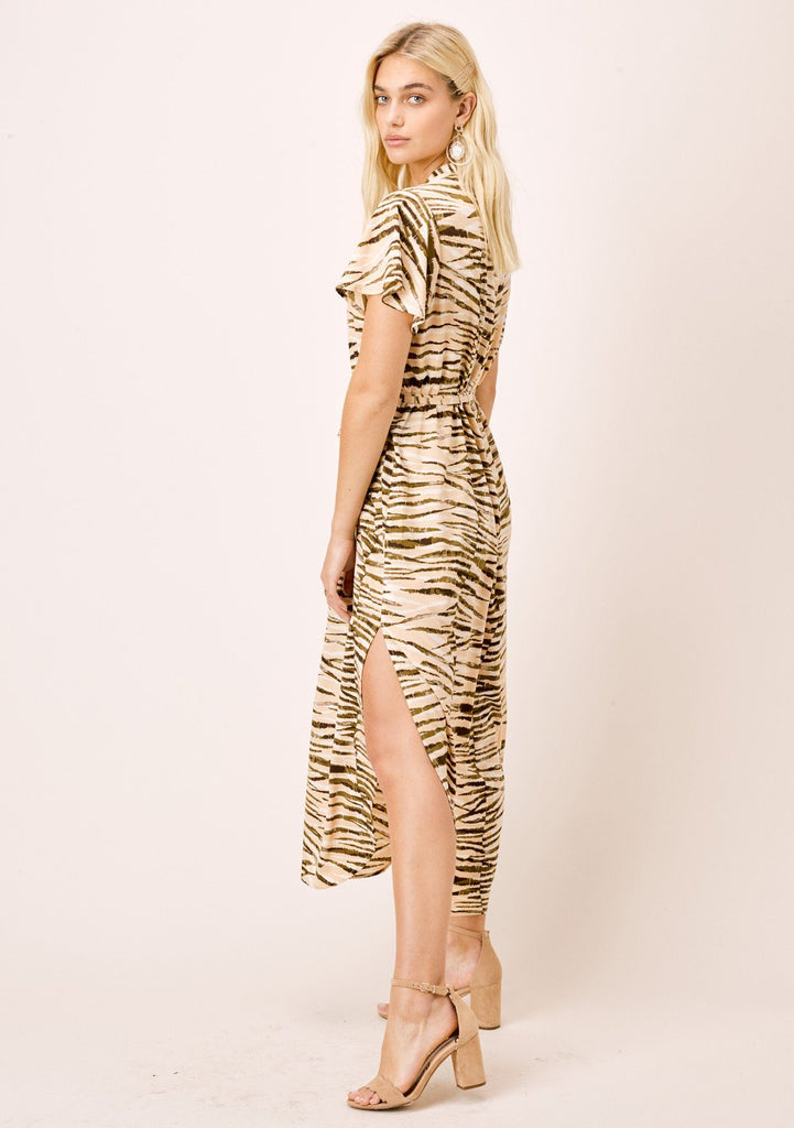 [Color: Sahara/Nude] Animal print, short sleeve buttondown shirt dress with self belt and front two pocket detail.