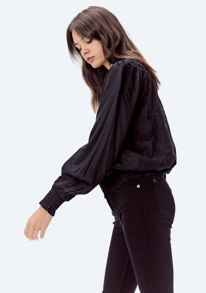 [Color: Black] Lovestitch modal satin bomber jacket beautiful embroidered back.