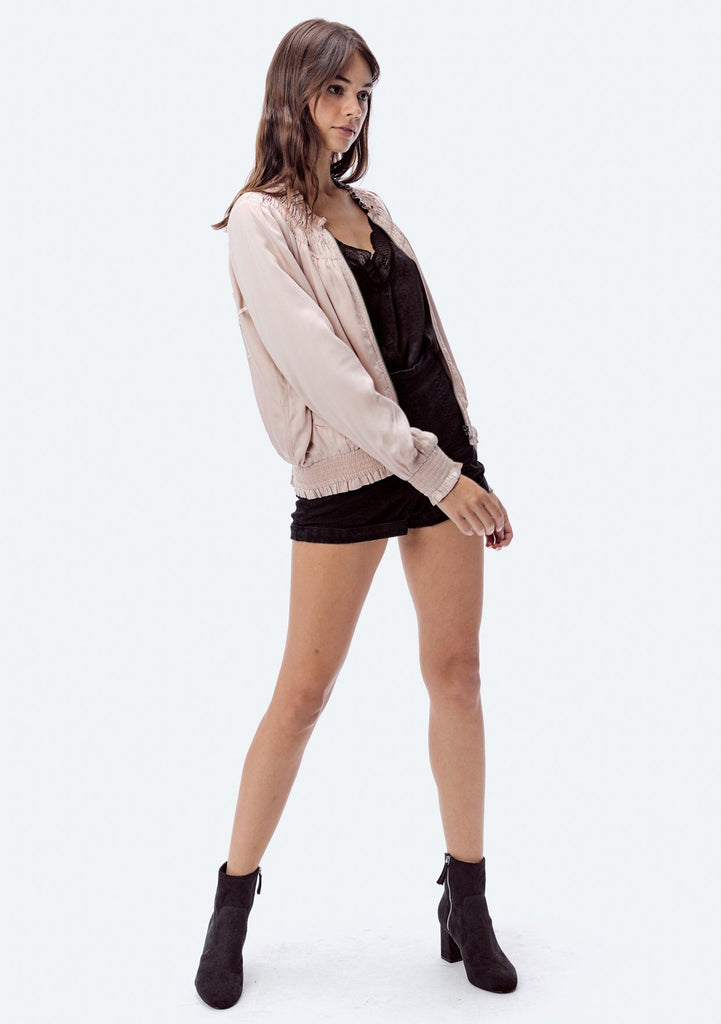 [Color: Blush] Lovestitch modal satin bomber jacket beautiful embroidered back.