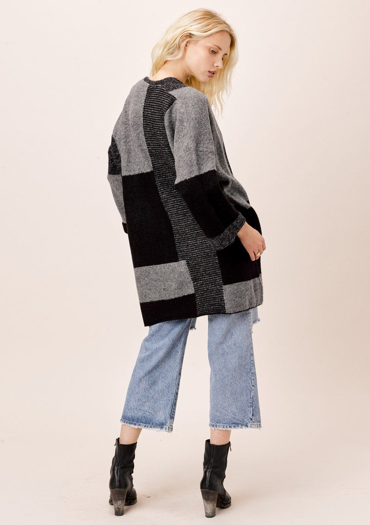 [Color: Black/Charcoal] Lovestitch Patchwork Color Block Coatigan