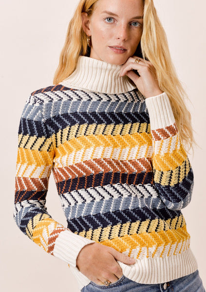 Joni Chevron Stripe Turtleneck
