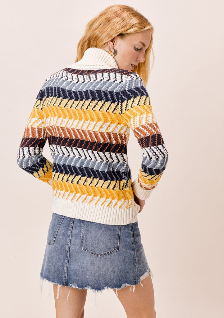 [Color: Mustard Multi] Lovestitch Turtleneck Chevron Stripe Sweater with Ribbed Detail