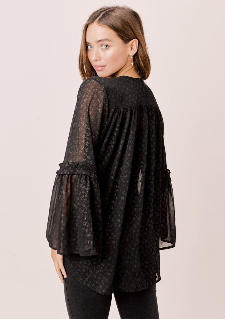 [Color: Black/Gold] Lovestitch black/gold foil chiffon surplice top with gathered lower bell sleeve