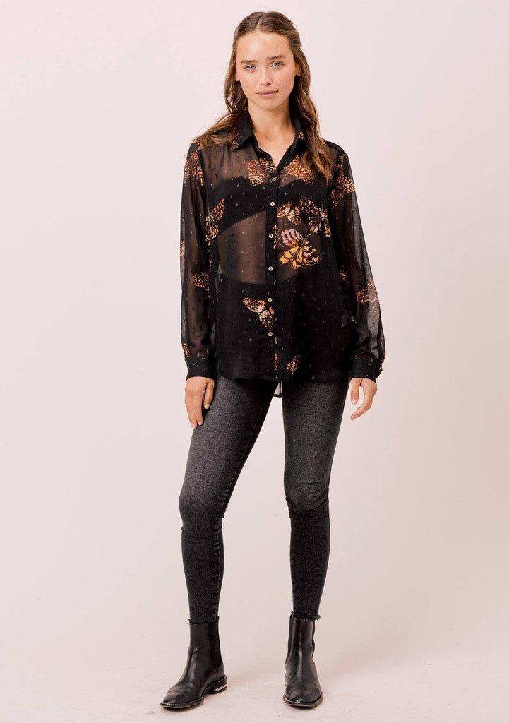 [Color: Black/Gold/Rust] Lovestitch Sheer, butterfly printed, long sleeve, buttondown shirt with pleated back detail.