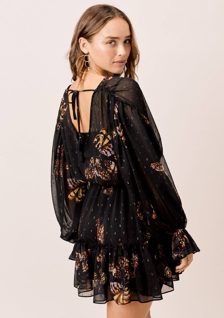 [Color: Black/Gold/Rust] Lovestitch Butterfly printed, shirred volume sleeve surplice mini dress