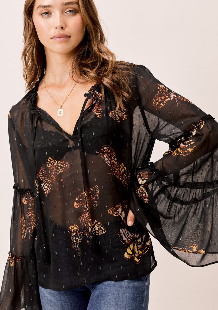 [Color: Black/Gold/Rust] Lovestitch Butterfly printed sheer bell sleeve top