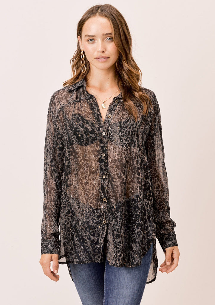 [Color: Black/Sand] Lovestitch black/sand abstract animal printed, sheer, buttondown shirt.