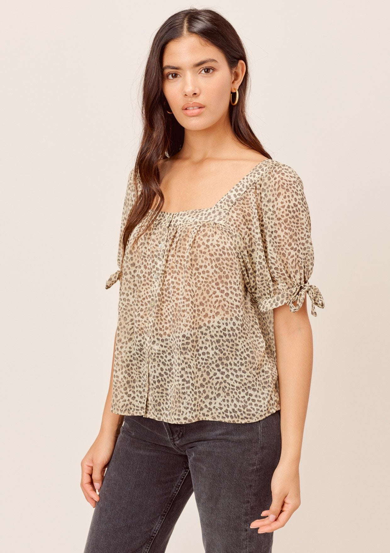 [Color: Natural] Lovestitch natural Animal printed, sheer, short sleeve button-up top with square neckline and tie sleeve detail.