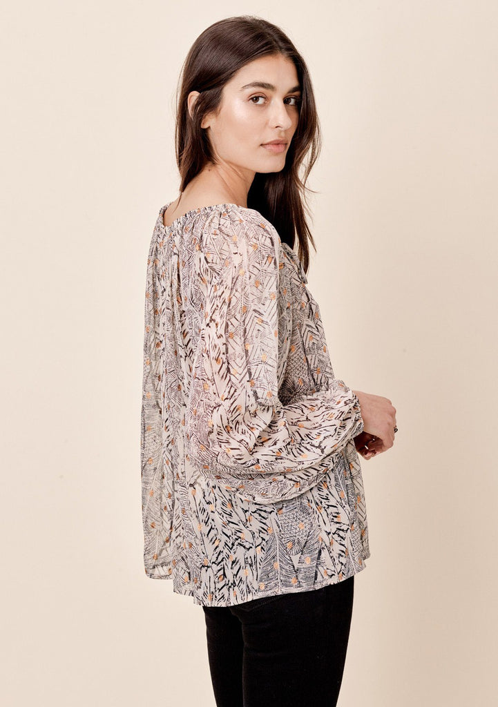 [Color: Natural] Lovestitch printed, long sleeve peasant top with shirred neckline and tie detail.