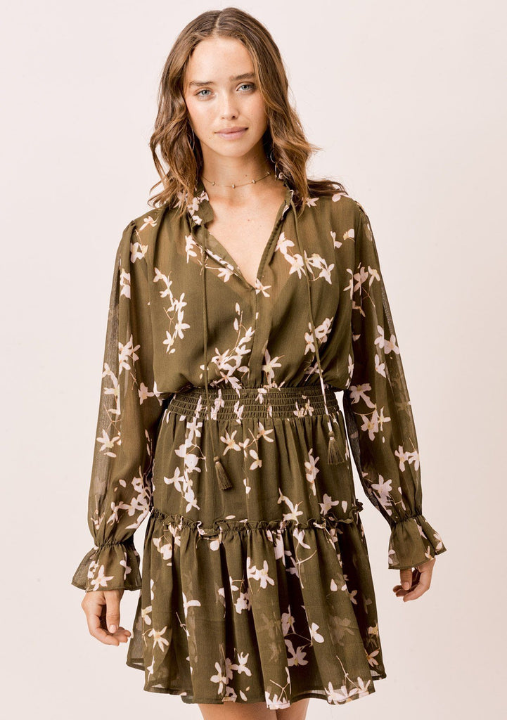 [Color: Olive/Rosewater] Lovestitch olive/rosewater, floral mini dress with smocked waist and ruffled detail