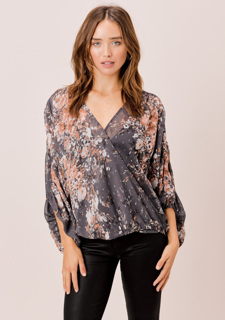 [Color: Grey/Blue/Taupe] Lovestitch grey/blue/taupe sheer surplice floral top with shirred detail