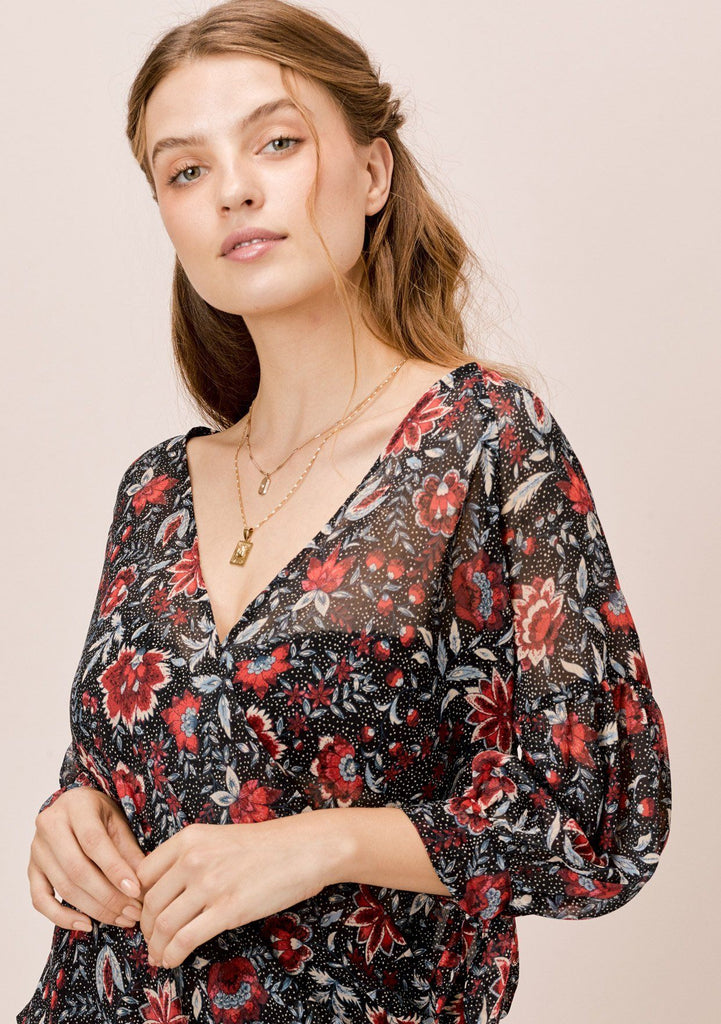 [Color: Black/Scarlet] Lovestitch, vintage floral printed surplice top with balloon tie sleeve.