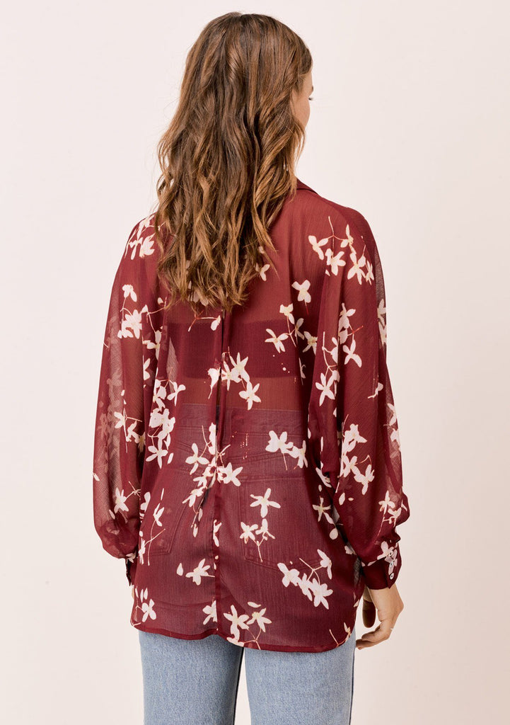 [Color: Brick/Rosewater] Lovestitch brick/rosewater Sheer, floral printed, dolman sleeve buttondown blouse.