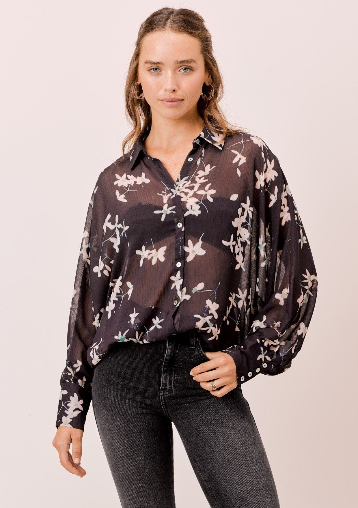 [Color: Midnight/Champagne] Lovestitch Midnight/Champagne Sheer, floral printed, dolman sleeve buttondown blouse.