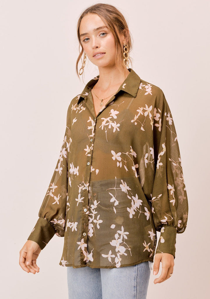 [Color: Olive/Rosewater] Lovestitch olive/rosewater Sheer, floral printed, dolman sleeve buttondown blouse.