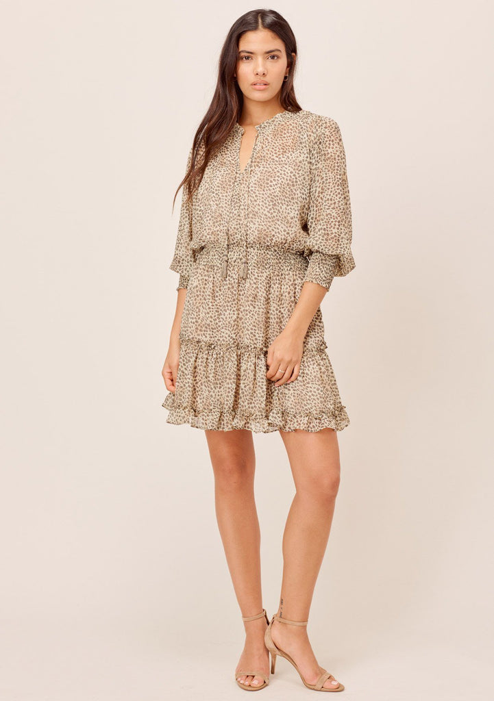 [Color: Natural] Classy nude leopard print mini dress with long sleeves