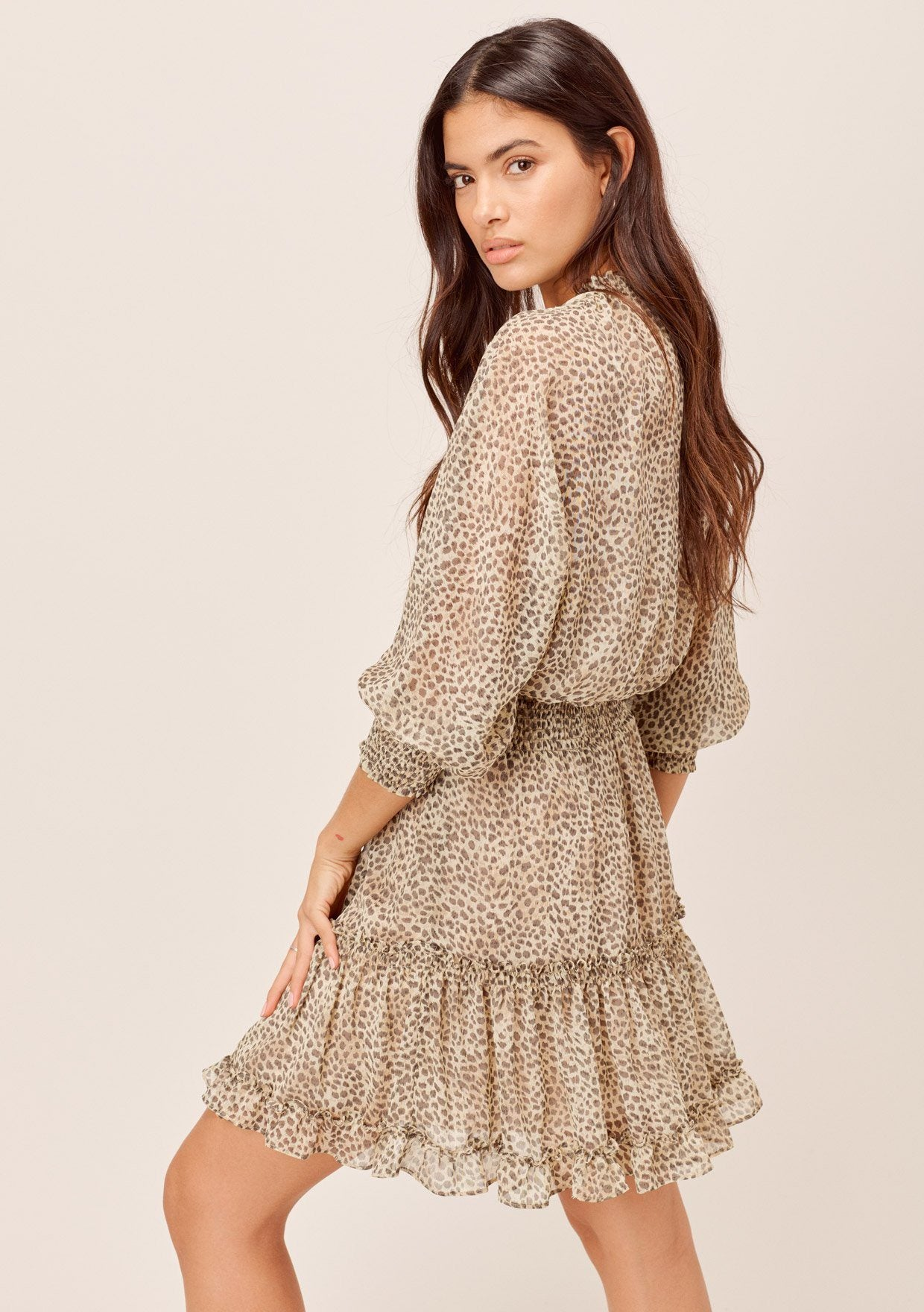 [Color: Natural] Lovestitch natural Animal printed, dolman sleeve, chiffon mini dress with smocked waist, 3/4 length smocked sleeves and tie neck detail.