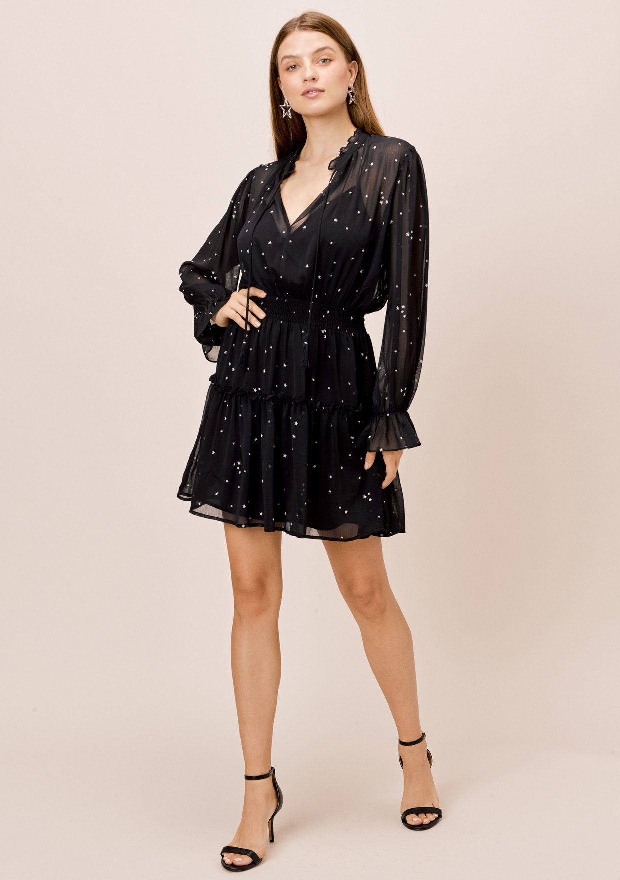 [Color: Midnight/Ivory] Lovestitch sheer star printed long sleeve mini dress with smocked waist and ruffle details.