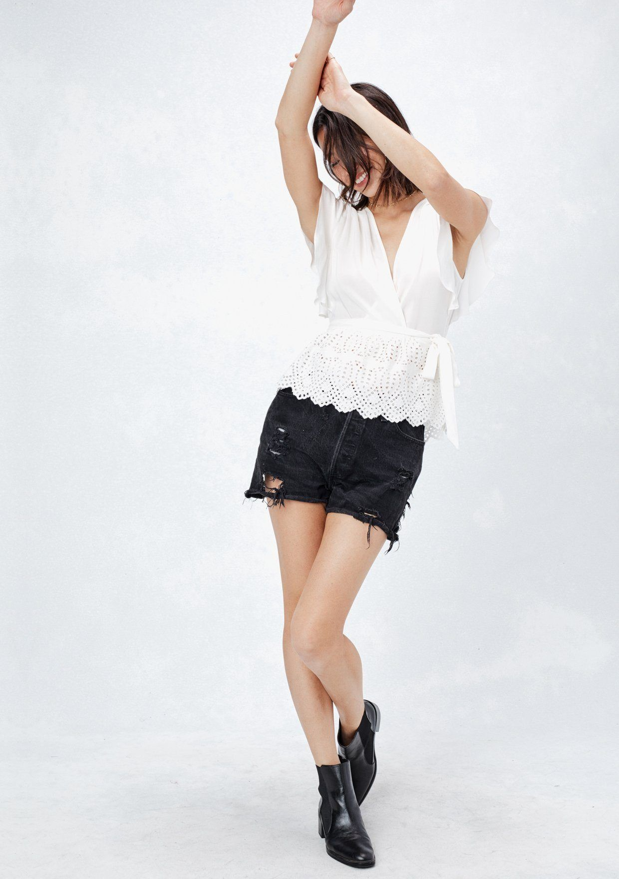 8ef8ee05d584 ... [Color: Off White] Lovestitch super cute, flattering wrap top with  ruffled sleeve ...