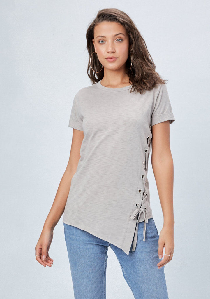 [Color: Cement] Lovestitch short sleeve, crew neck tee shirt with side lace up tie detail and asymmetrical hemline.