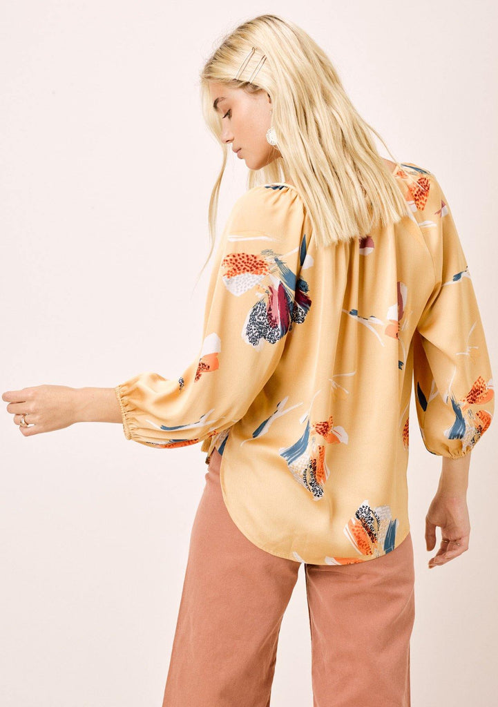[Color: Honey Gold] Lovestitch silken honey gold, floral printed, three quarter length, peasant top.