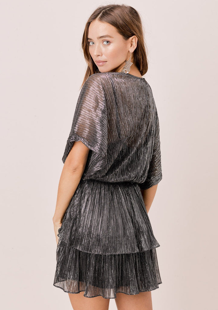 [Color: Black/Silver] Lovestitch black/silver, pleated metallic dolman sleeve surplice tiered mini dress