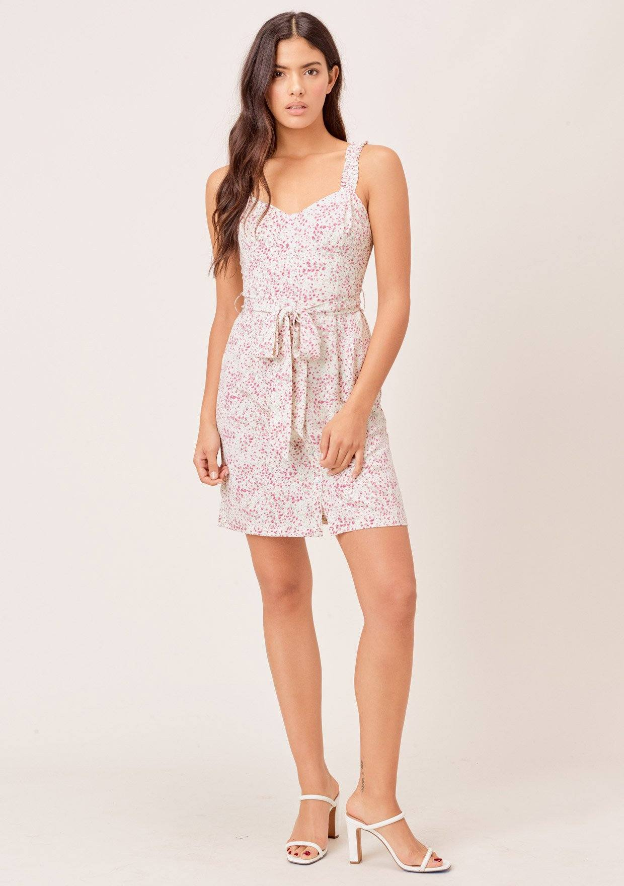 [Color: Ivory/Orchid] Lovestitch ivory/orchid Small tulip printed, belted, buttondown mini dress with shirred straps.