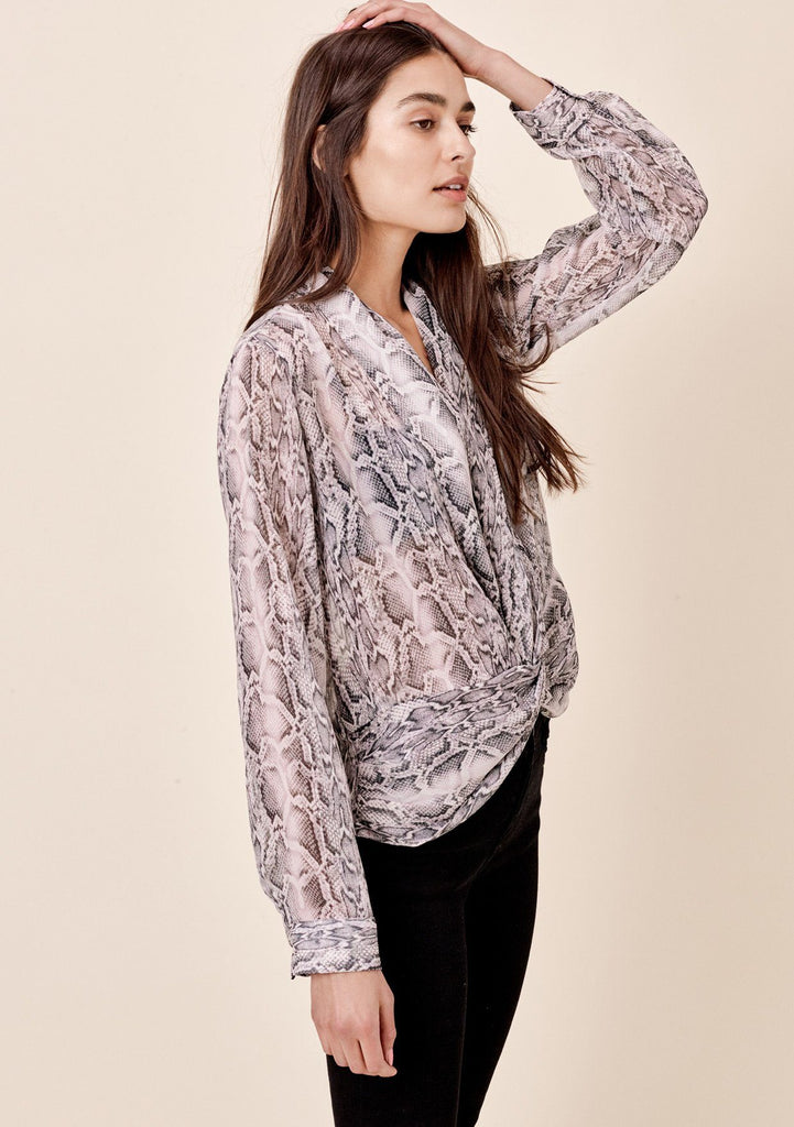 [Color: Grey/Silver] Lovestitch grey/silver, snakeskin printed, sheer chiffon, long sleeve, knot front top.