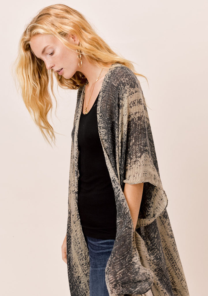 [Color: Black/Taupe/Metallic] Lovestitch oversized, snakeskin printed, wool blend kimono with metallic details and side slits.