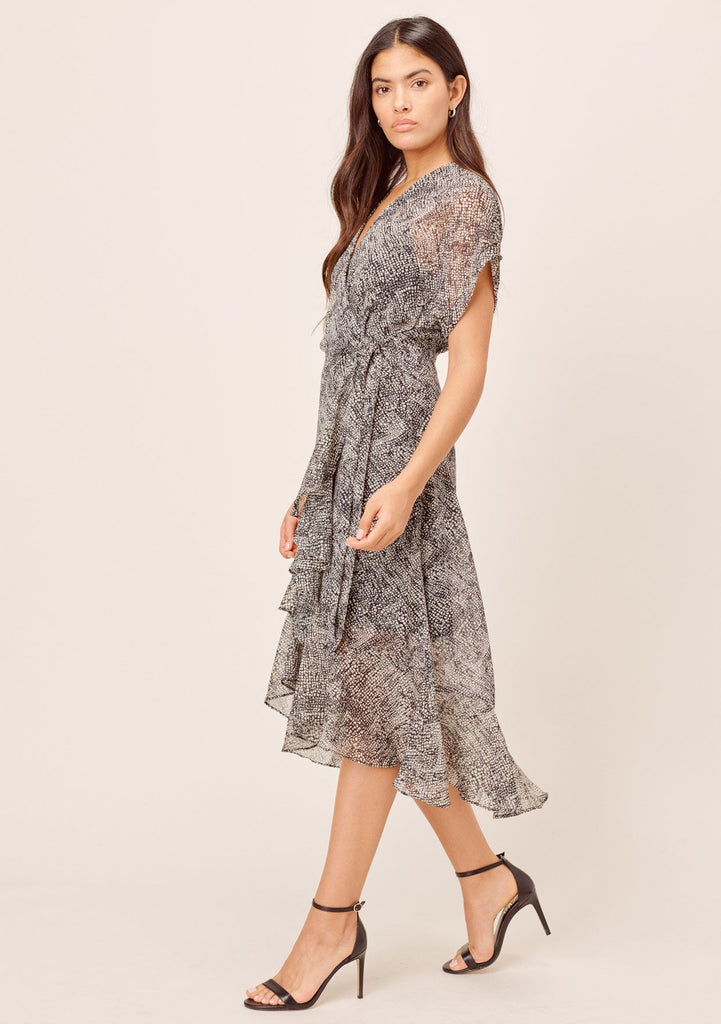 [Color: Black/Ivory] Lovestitch black/ivory Snakeskin printed wrap dress with ruffled skirt and short rolled sleeve. Elegant & flattering silhouette with metallic details.