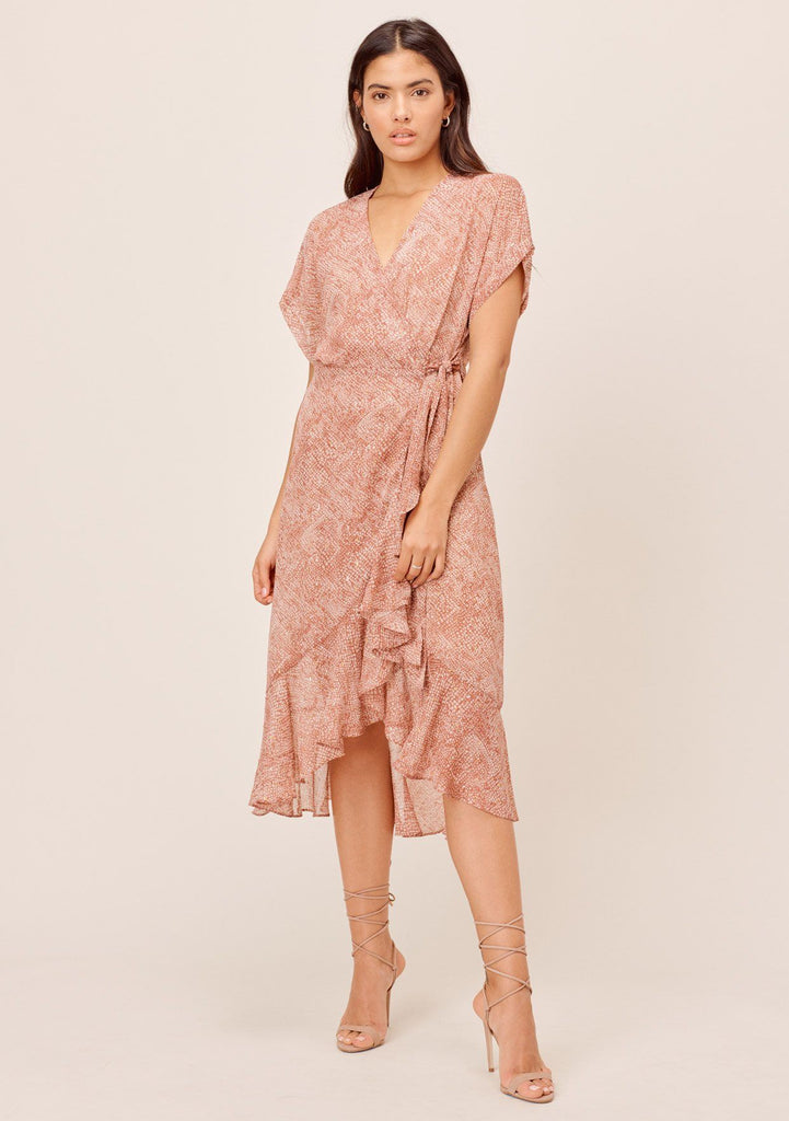[Color: Clove/Almond] Lovestitch clove/almond Snakeskin printed wrap dress with ruffled skirt and short rolled sleeve. Elegant & flattering silhouette with metallic details.