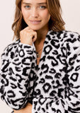 [Color: Snow Leopard] Lovestitch snow leopard open cardigan with two pockets