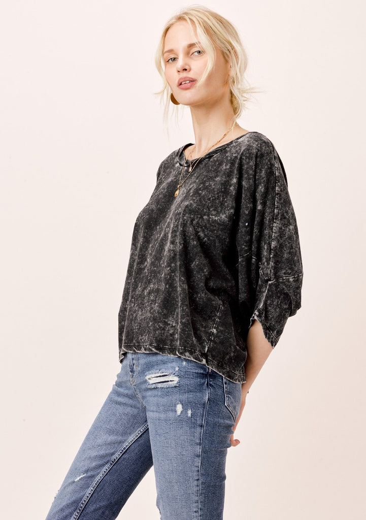 [Color: Black] Lovestitch Snow Wash Black, Dolman Sleeve Tee with Side Panels