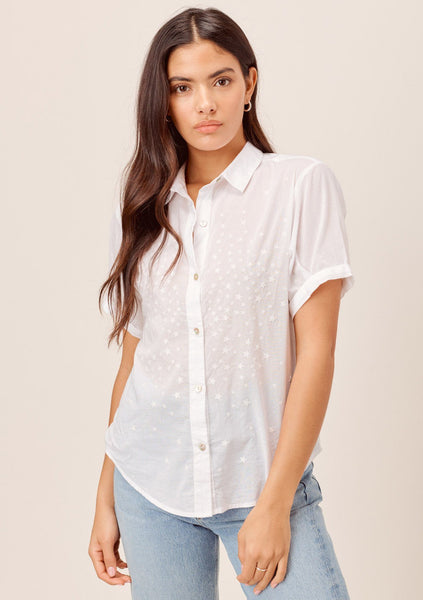 Azalea Star Embroidered Buttondown