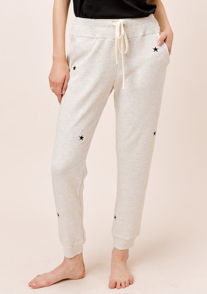 [Color: Oatmeal/Black] Lovestitch french terry, star embroidered sweatpants with side pockets.
